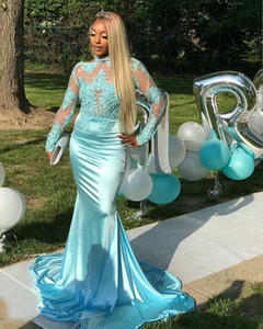 Light Blue Stretch Fabric Prom Gown with Lace Appliques Beads High Neck African Style Mermaid Evening Dress