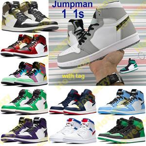 Anahtarlık Yüksek 1 1s Jumpman Basketbol Ayakkabı Hafif Duman Gri Orta Chicago Burun Erkekler Kadınlar Sneakers Beyaz Kırmızı Kraliyet UNC yılan Koşu ayakkabıları saten
