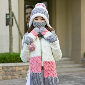 2020 hat women autumn and winter all-match knitted scarf gloves three-piece warm wool hat cute female Christmas birthday