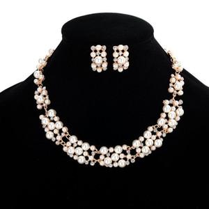 Brighal Wedding Jewelry Pearl Strass Collana Collana Set Set di gioielli di cristallo all'ingrosso Set di gioielli in cristallo Accessori per gioielli da sposa
