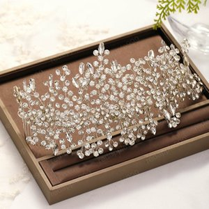 Handmade Crystal Headband with Two Combs Women Headpieces Bridal Hair Jewelry For Wedding Rhinestone Hairband Hair Combs