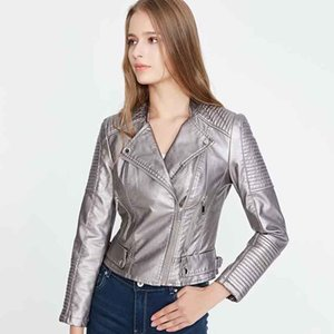 KLACWAYA Mode Frauen Wildleder Jacken 2019 Herbst Damen Kurzbombenjacke Coole Girls Reißverschluss Slim Silber Mäntel Chic1