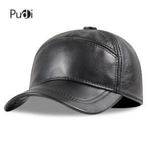 Pudi Hombres Genuine Cuero Cap Hat Sombrero Nuevo Estilo Ejército Cálido Color Sólido Moda Hats HL190 J1225