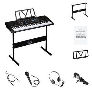 Hlarry 61 مفتاح البيانو المحمولة مع المتحدثين البيانو حامل سماعة ميكروفون ميكروفون بقية شاشة LCD وسائط تعليم USB للمبتدئين الأسود