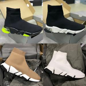 Herren Stretch Mesh Geschwindigkeit Socken Sneakers Fashion Lace-up Frauen Socken Trainer Speed Runner Designer Schuhe Schwarz Weiß 34 Farben mit Kasten