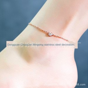 qmJIl Japanese and Korean-plated 18k rose color gold single Jewelry diamond Diamond stainless steel anklet women's fashionable titanium stee