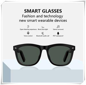 NOUVEAU E9 Smart Bluetooth lunettes d'appel téléphonique Sunglasses Touchez Bluetooth Headfton Stéréo Headset jeu Jouer à voix Voix Control Haut-parleur