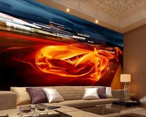 Classic Retro 3d Wallpaper Flaming Cool 3D Dynamic Sports Car TV Sofa Background Wall HD 3d Wallpaper