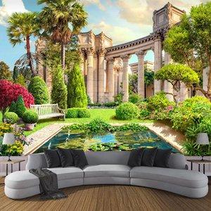 Custom Mural Papel De Parede 3D Roman Column Garden Landscape Wall Decor Painting Living Room Sofa Background Photo Wallpaper
