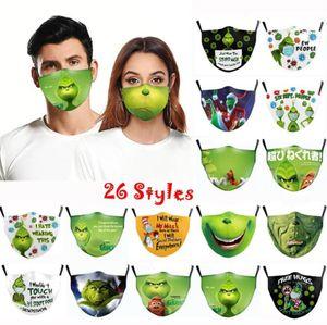 Grinch Stoler Weihnachten 3D Druck Cosplay Baumwolle Gesichtsmasken Wiederverwendbar Waschbar Staubfest Niedliche Mode Erwachsene Gesichtsmaske 2021 Ornamente