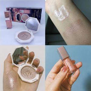 Hot Cosmetics Makeup Matte Liquid Lipstick Lip Gloss + Foundation Highlighter Face Setting Powder Palette 2in1 Bronzer Lipgloss Se.