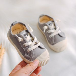 Kids Canvas Shoes Slip on Baby Toddler Shoes Anti-kick Boys Sneakers Solid Color Children Girls Casual Gray Tenis Infantil