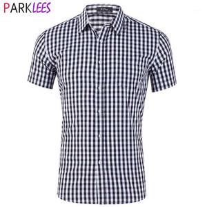 قمصان رجالية قمصان رجالي أبيض أسود منقوشة قميص 2021 العلامة التجارية قصيرة الأكمام القياسية تناسب الأعمال الرسمي الرجال زر متقلب casual1