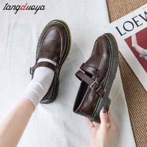 women shoes female Mary Jane shoes word buckle soft bottom flat big head doll single lolita sneakers femmes chaussures #KW7Y