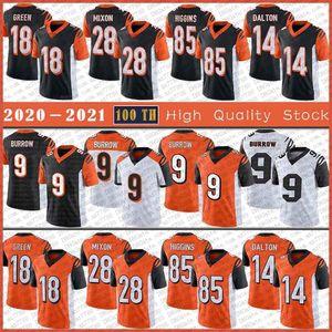 9 Joe Burrow CincinnatiJersey de futebol 18 a.J. Verde 28 Joe Mixon 85 Tee Higgins 14 Andy Dalton Alta Qualidade Costurada Jerseys