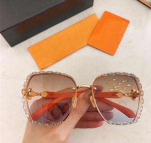 Yeni 2021 Moda Trendy Kadın Güneş Gözlüğü Picotin Metal Kare Çerçevesiz Gözlük Lens Oyma Tasarım UV400 Koruma Kutusu Ile Gel