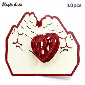 10 Pack Love In The Hand 3d Pop Up Anniversary Cards Valentine's Day Card Sticker Laser Cut Wedding Invitations Greeting Cards jllXap