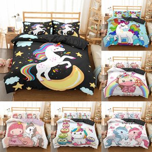 Homesky Unicorn Cartoon Bedding Set Lovely Kids Duvet Cover King Queen Size Printed Quilt Cover Bedclothes Comforter Cover Set Z1126
