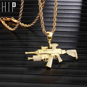 Hip Hop Iced Out Bling Gun Rhinestone Rope Chain Gold Color Pendants & Necklaces For Men Jewelry Dropshipping1