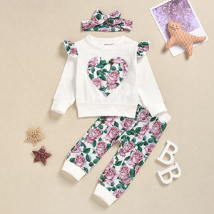 HIPAC 3PCS Toddler Baby Girl Kids Clothes for Girls Newborn Kid Clothing Set Flower Print Fashion Outfit Top Pants Headband