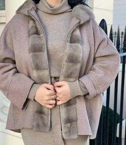 Arlenesain Zip Fastening 더블 캐시미어 재킷 밍크 숄 넥이 특징 인 밍크 스카프 효과