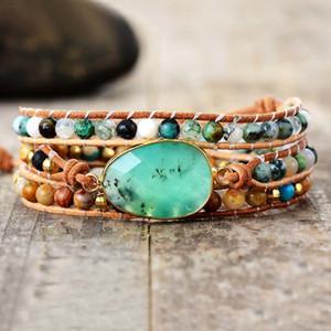 Exclusive New Women Bracelets Natural Stone Lava Beads 3 Strands Leather Wrap Bracelet Beads Bracelets Femme Dropshipping F1201