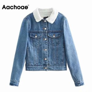 Aachoae New Fashion 100% Cotton Jacket Women Blue Color Casual Cropped Tops Lady Turn Down Collar Coat Outerwear Autumn Spring