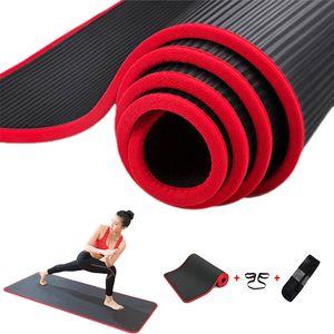 Jusenda 10mm Yoga-Matte 183x61cm NBR Fitness-Gym Sport Pilates-Pads Teppichkante-bedeckte reizfeste Yoga Matt mit Bagstrap LJ201218