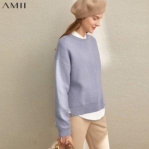 AMII Winter Femmes Vintage Pulls tricotés Femme Élégante Solide Split Pull Pull Split Tops 11940643 C1120