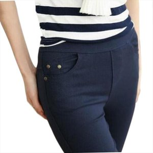 Free Shipping 2018 New Autumn Fashion Pencil Jeans Woman Candy Colored Mid Waist Full Length Zipper Slim Fit Skinny Women Pants