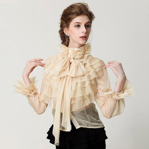 New style womens retro palace collar lace Blouses Cascading Ruffle shirt, long sleeve womens wear high quality sexy transparen