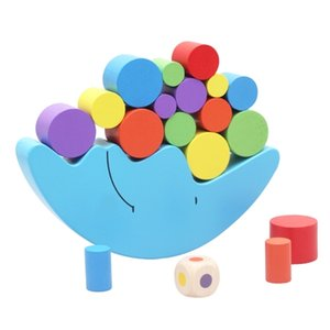 New Montessori Wood Moon Balance Game Kids wooden Educational Toys For Children Wooden Toys Balancing Blocks for Baby Children Q1126
