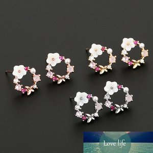 3 Color Coreano Butterfly Flowers Pearl Stud Pendientes Nueva Moda Mujeres Boda Joyería Regalo Brincos