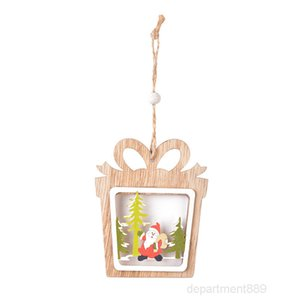 decorations wooden laser hollowed out Tree wood double Pentagram Pendant Christmas Series 6 Style OWB2294