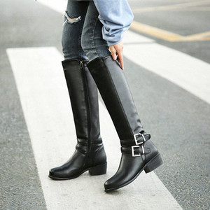 Hot Sale-YMECHIC 2018 Winter Plush Blcak Brown Womens Shoes Buckle Low Chunky Heel Mid Calf High Long Knight Boots Female Botas Plus Size