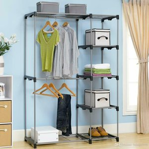 Closet Organizer Storage Rack Portable Clothes Hanger Home Garment Shelf Rod