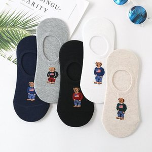 5PCS lots--Cartoon bear print socks casual compression street men sock autumn winter sweat absorption cotton crew socks WZ13
