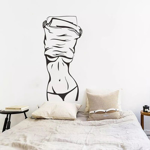 Removable Adhesive Fitness Sexy Girl Wall Sticker Waterproof Painting Art Mural Poster Bedroom Decorative Living Room Home Decor