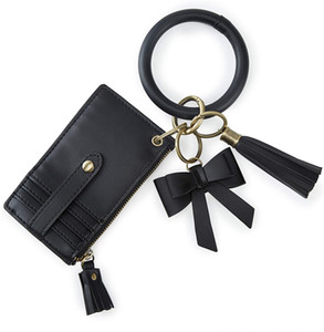 ECOSUSI Wristlet Keychain Key Ring Bracelets Card Holder Purse with Tassel, Bow