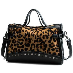 Neue Luxus Handtaschen Frauen Designer Rivet Faux Leder Wildleder Damen Umhängetasche Vintage Leopard Weibliche Große Crossbody Taschen Q1129