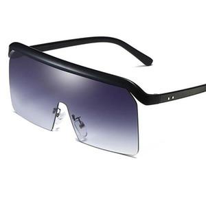 Солнцезащитные очки негабаритные женские тенденции половины рамы плоские верхние квадратные очки большие оттенки мужчины летнее очки One Piece Goggles Oculos ретро