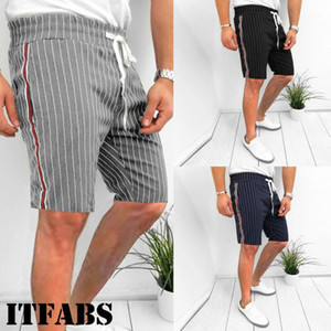 Handsome Men's Striped Short Pants Summer Casual Athletic Gym Sports Training Shorts Comfortable Clothes Outfit1