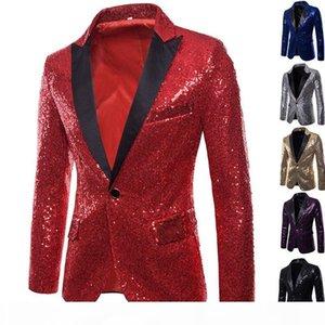 Men Sequins Blazers Design DJ Singers Costume Slim Fit Coat Male Shiny Paillette Suit Gold Silver Jacket