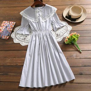Mori girl summer dress 2019 new arrival flare sleeve cotton plaid dress sweet vestidos Drop Shipping