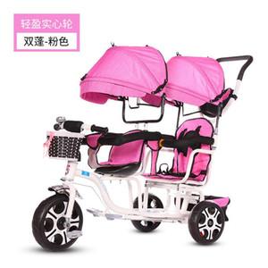 아기 트윈 세발 자전거 유모차 3 바퀴 아이들을위한 더블 유모차 쌍둥이 가드 레일 좌석 아기 유아 자전거 자동차 세발 자전거 아이 유모차