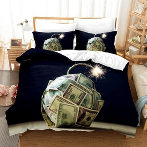 3D Money Printed Pillowcases Bedding Set Queen King Size Dropshipping High End King Queen Twin Full Single Double