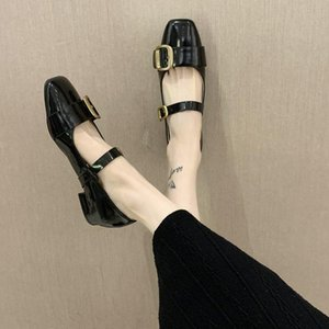 Shoes Woman Flats Square Toe All-Match Casual Female Sneakers Modis Shallow Mouth Platform Low Heels Dress On Heels Retro