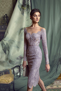 Lavender 2021 Mother of the Bride Dresses Long Sleeve Full Lace Cheap Wedding Guest Gowns Knee Length Mother of Groom Dress