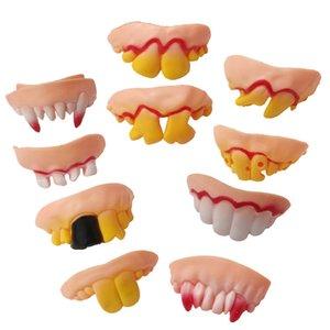 10 قطعة / المجموعة مضحك أسنان الأسنان هالوين الديكور الدعامة لعبة النكات العملية للاهتمام مزحة الرعب المرح صدمة الجدة أداة DHD3413