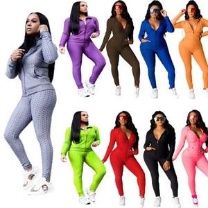 Women 2 Pieces Outfits Plain Jacket Pants Ladies New Fashion Casual Clothing Yoga Cardigan Leggings Tracksuit Sportwear TQTT